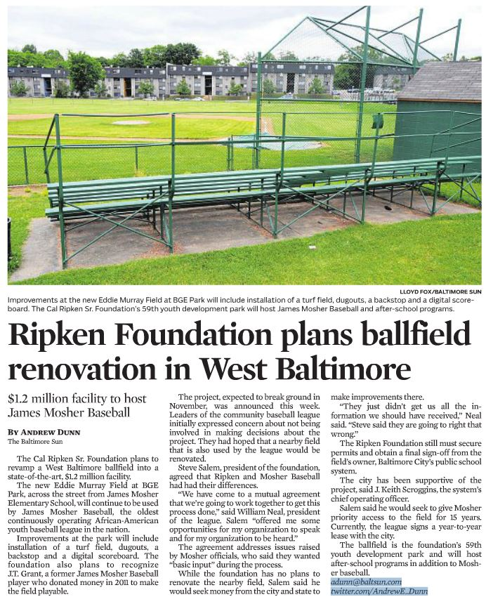 Balt Sun - CRSF to Open YDP in West Baltimore 6.4.16